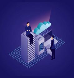 data network businessman concept vector image