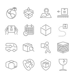 Delivery set of outline icons includes such as vector