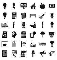 Diagram icons set simple style vector
