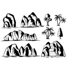 doodle design for mountains and trees vector image