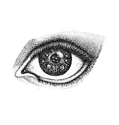 dotwork eye with space vector image