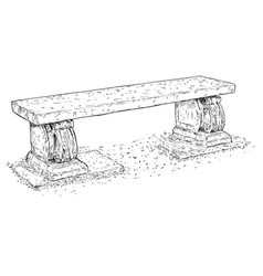 Drawing of old antique outdoor park or garden vector