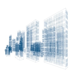 drawings skyscrapers and homes vector image