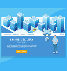 drone delivery website landing page design vector image