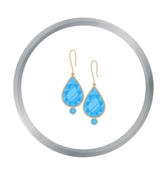 Earrings with gems icon in cartoon style isolated vector