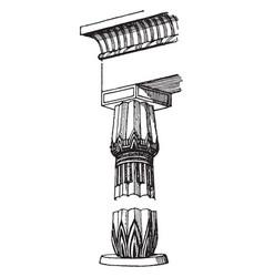 Egyptian column elements vintage engraving vector