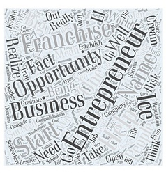 Entrepreneur franchise opportunity Word Cloud vector