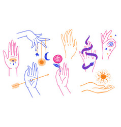 Esoteric colorful set female hands vector