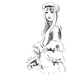 Fashion model sketch girl vector