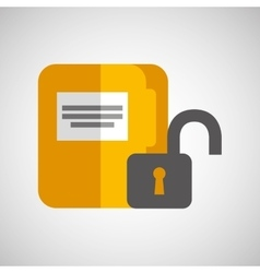 File document folder archive safety padlock vector