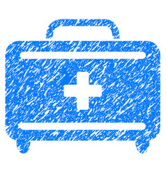 First aid toolkit grunge icon vector