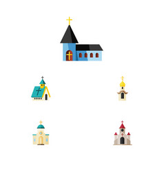 Flat icon church set of christian architecture vector