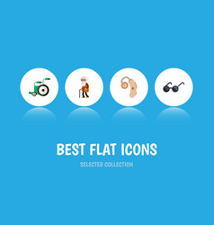 Flat icon handicapped set equipment audiology vector