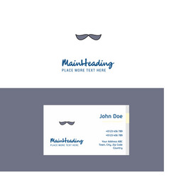 flat mustache logo and visiting card template vector image