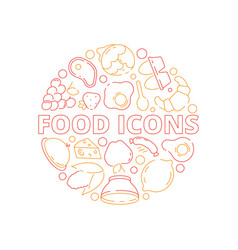 food icon background colored circle shape kitchen vector image