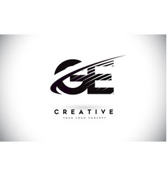 Ge g e letter logo design with swoosh and black vector