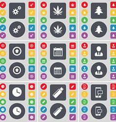 Gear Marijuana Firtree Arrow up Calendar Avatar vector