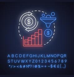 Get profit neon light concept icon increase vector