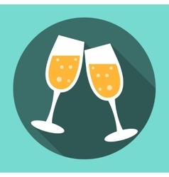 Glasses of Champagne Icon vector image