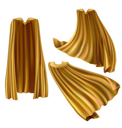 Golden superhero cape cloak with triangle pin vector