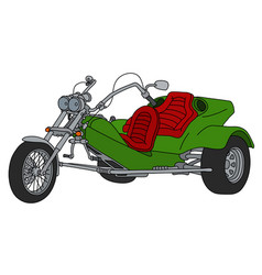 Green heavy motor tricycle vector