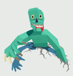 green zombie low poly for vector image
