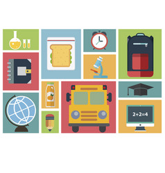 Group of school and learning icons vector