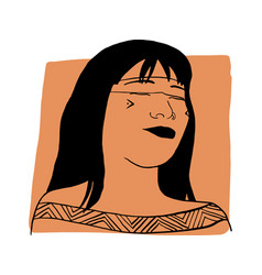 Hand-draw outline portrait a tribal woman vector