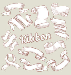 hand drawn ribbons set vintage decoration vector image