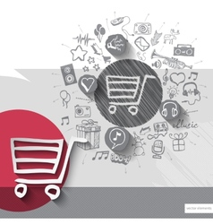 Hand drawn shopping cart icons with icons vector image