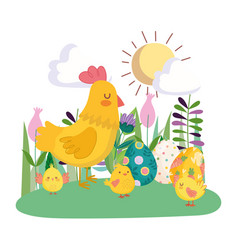 happy easter cute hen and chickens with eggs vector image