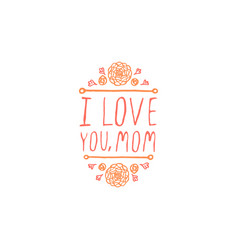 happy mothers day handlettering element on white vector image