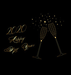 happy new year 2020 gold wine glass toasting vector image