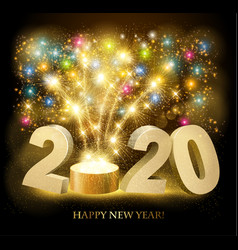 Happy new year background with 2020 and fireworks vector