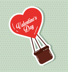 heart balloon flyin valentines day card vector image