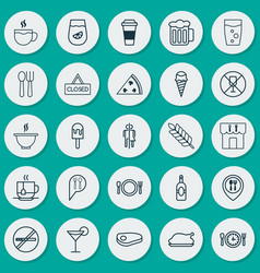 Icons set collection of sundae cocktail sorbet vector