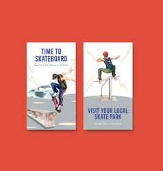 instagram template with skateboard design concept vector image