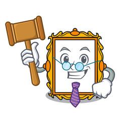 Judge picture frame mascot cartoon vector