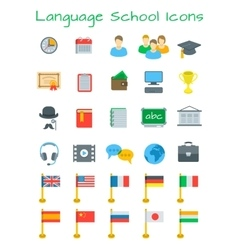 Language courses flat education icons vector