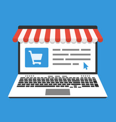 laptop and web store on screen in flat design vector image