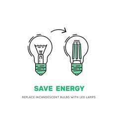 Led energy saving lamp vector