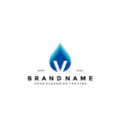 Letter v water drop logo design vector