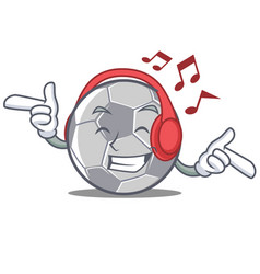 Listening music football character cartoon style vector