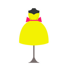 Mannequin in bright yellow dress with pink bow vector