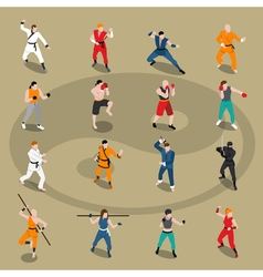 Martial Arts Isometric People Set vector