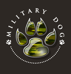 Military dog paw print vector