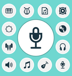 music icons set with speaker microphone vector image