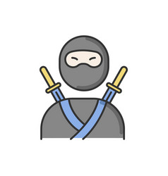ninja rgb color icon traditional japanese fighter vector image