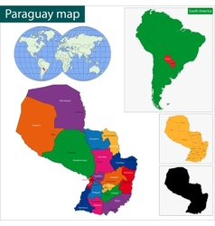 Paraguay map vector image