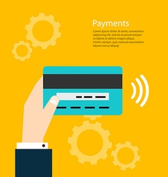 Payments Man holding card payments from vector image